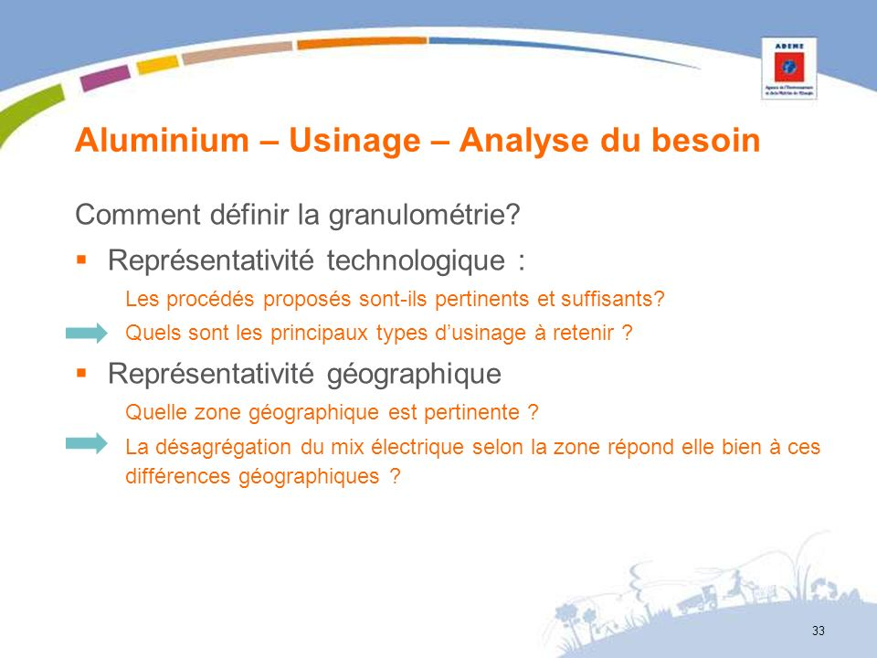Aluminium – Usinage – Analyse du besoin 33 Comment définir la granulométrie? Représentativité technologique : Les procédés proposés sont-ils pertinent