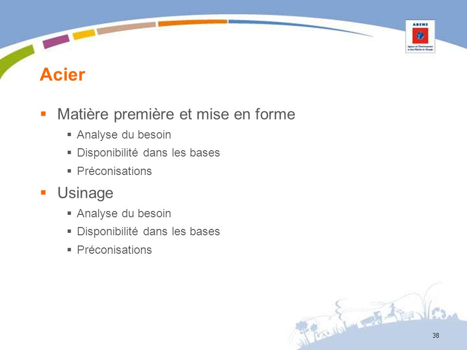 Acier Matière première et mise en forme Analyse du besoin Disponibilité dans les bases Préconisations Usinage Analyse du besoin Disponibilité dans les