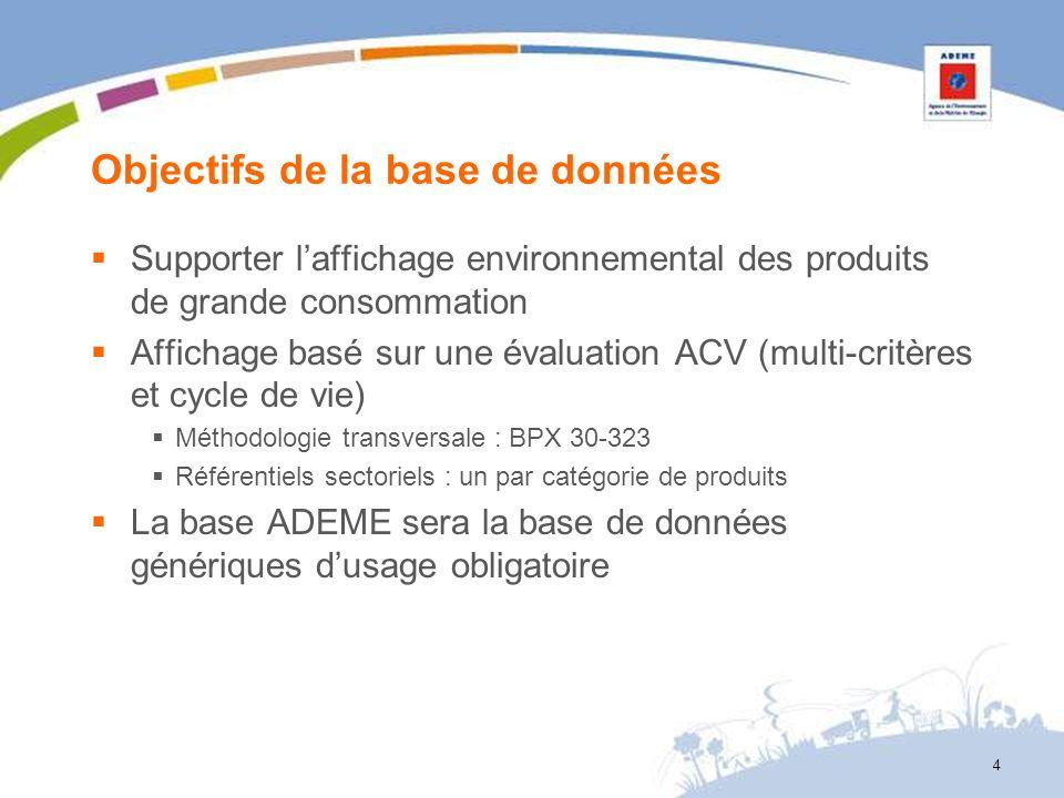 4 Objectifs de la base de données Supporter laffichage environnemental des produits de grande consommation Affichage basé sur une évaluation ACV (mult