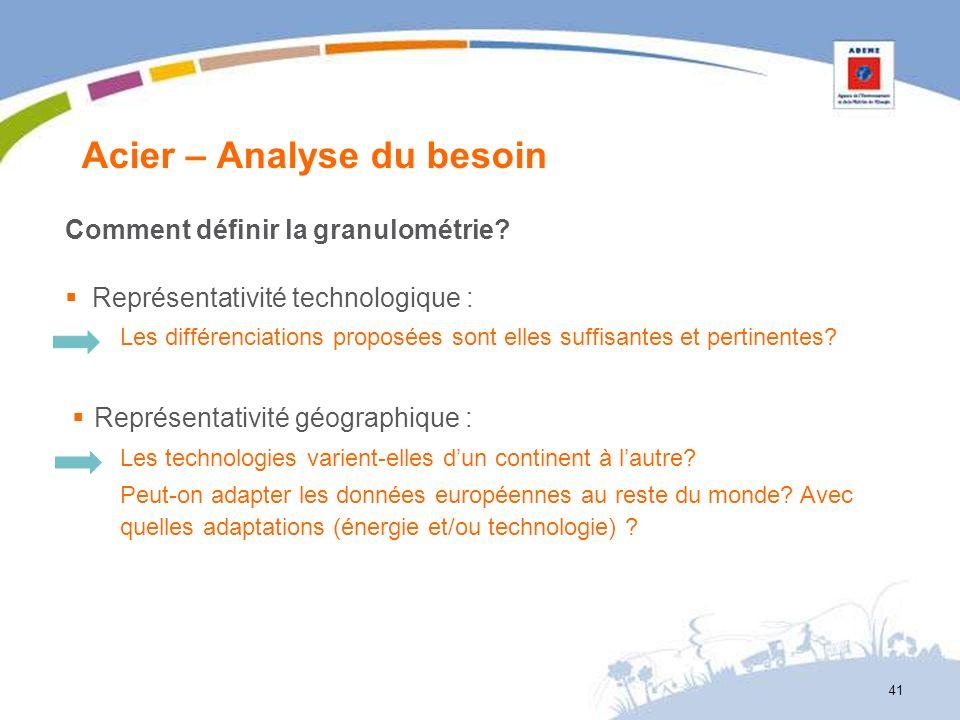 Acier – Analyse du besoin 41 Comment définir la granulométrie? Représentativité technologique : Les différenciations proposées sont elles suffisantes