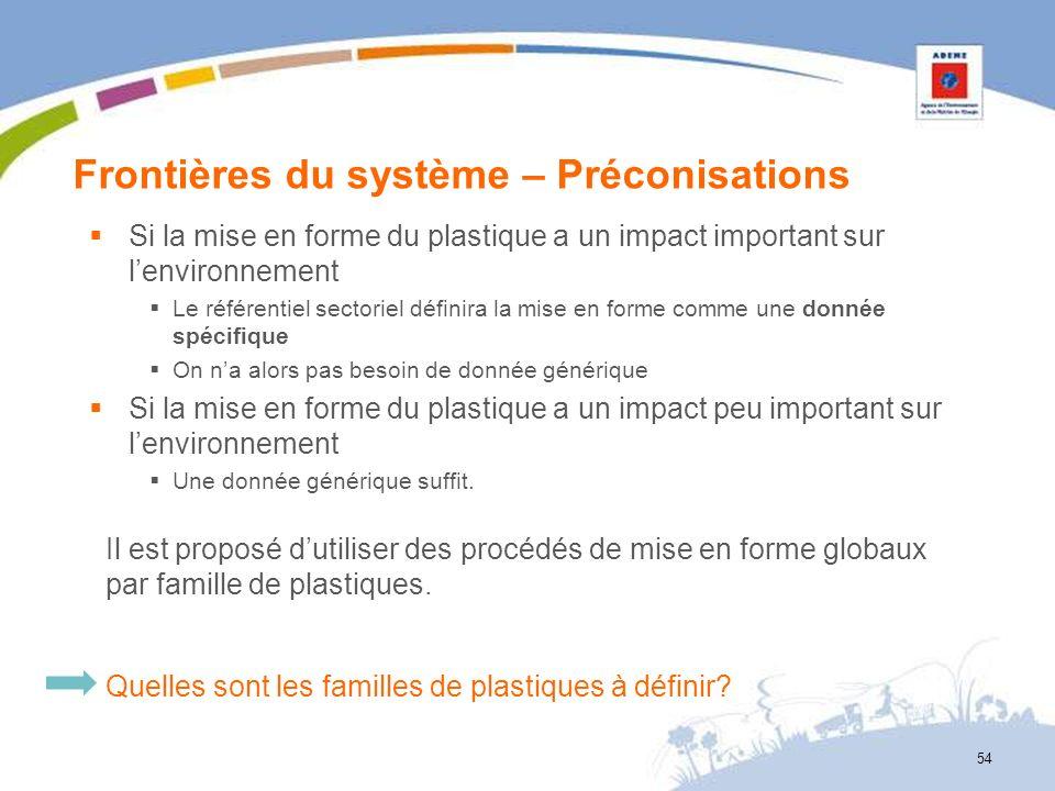 Frontières du système – Préconisations Si la mise en forme du plastique a un impact important sur lenvironnement Le référentiel sectoriel définira la