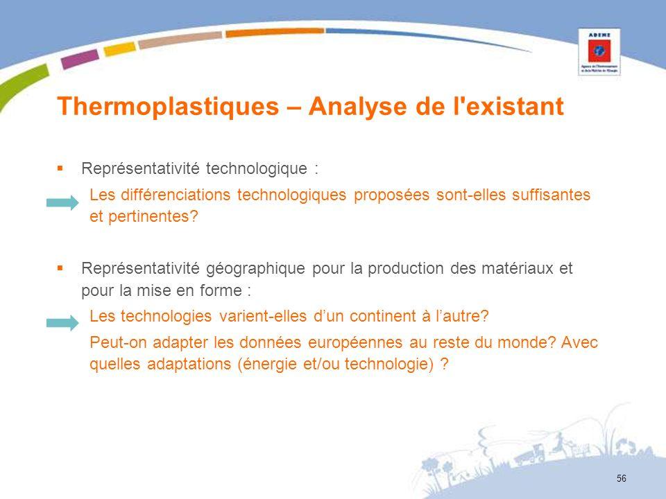 Thermoplastiques – Analyse de l'existant 56 Représentativité technologique : Les différenciations technologiques proposées sont-elles suffisantes et p