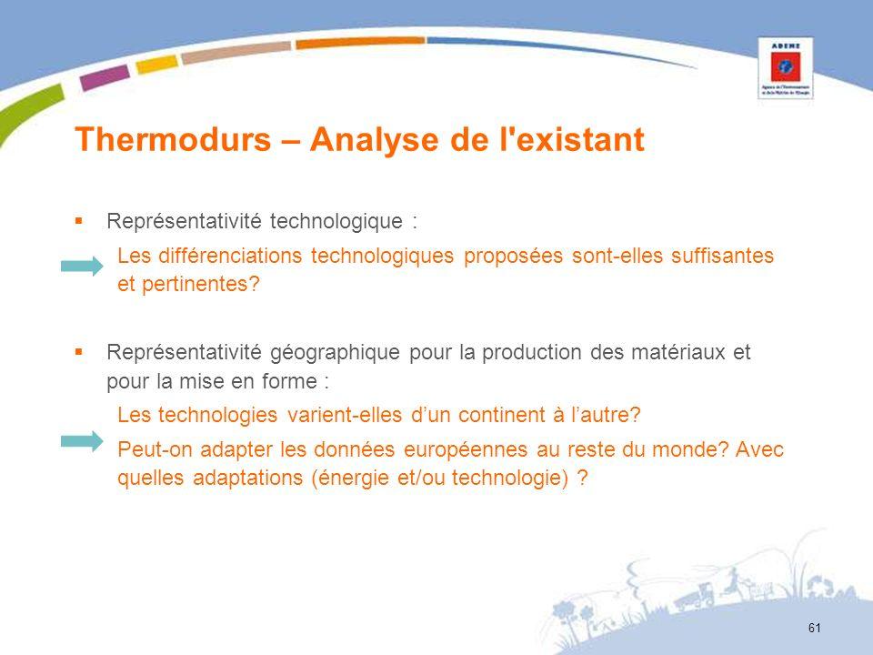 Thermodurs – Analyse de l'existant 61 Représentativité technologique : Les différenciations technologiques proposées sont-elles suffisantes et pertine