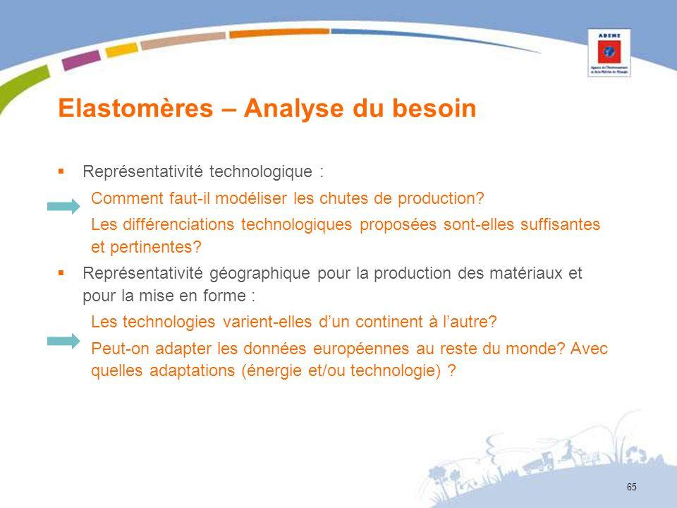 Elastomères – Analyse du besoin 65 Représentativité technologique : Comment faut-il modéliser les chutes de production? Les différenciations technolog