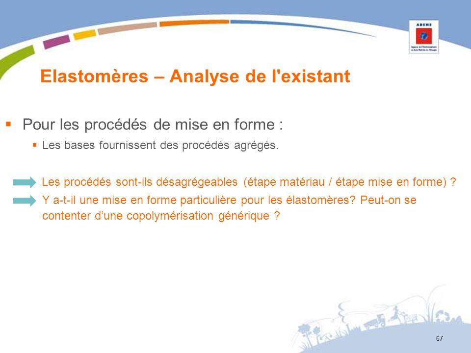 Elastomères – Analyse de l'existant 67 Pour les procédés de mise en forme : Les bases fournissent des procédés agrégés. Les procédés sont-ils désagrég