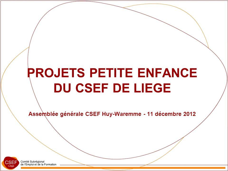 PROJETS PETITE ENFANCE DU CSEF DE LIEGE Assemblée générale CSEF Huy-Waremme - 11 décembre 2012