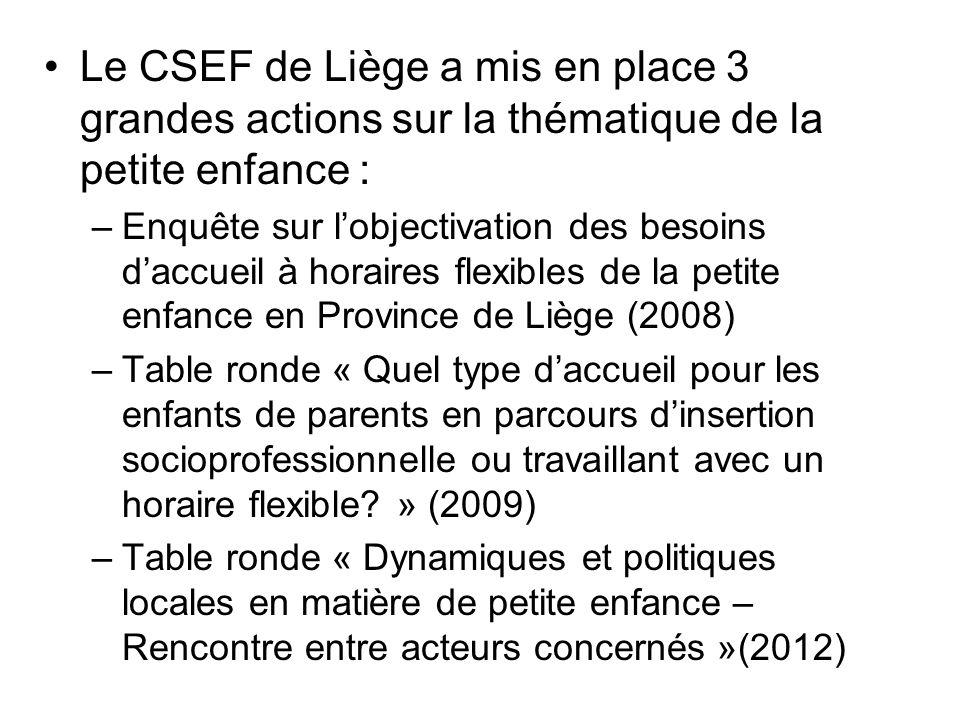 Le CSEF de Liège a mis en place 3 grandes actions sur la thématique de la petite enfance : –Enquête sur lobjectivation des besoins daccueil à horaires