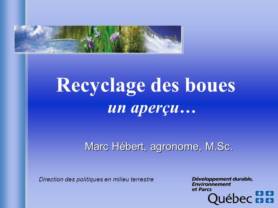 Recyclage des boues un aperçu… Marc Hébert, agronome, M.Sc. Direction des politiques en milieu terrestre