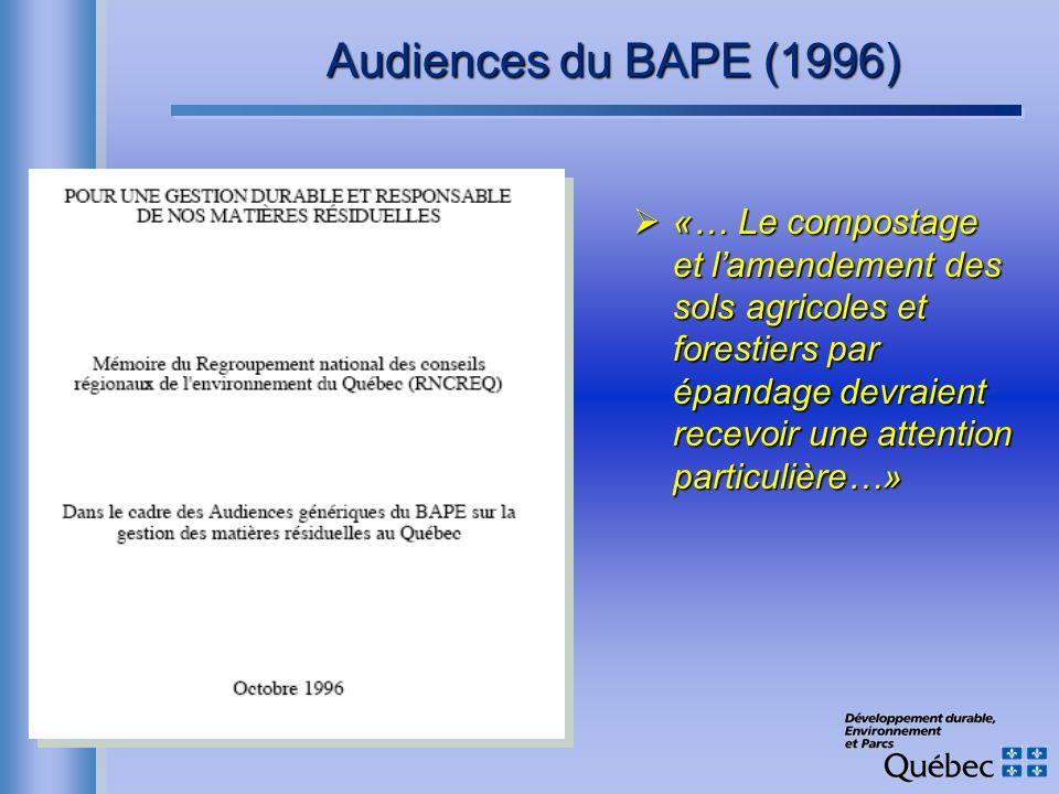 Audiences du BAPE (1996) «… Le compostage et lamendement des sols agricoles et forestiers par épandage devraient recevoir une attention particulière…»