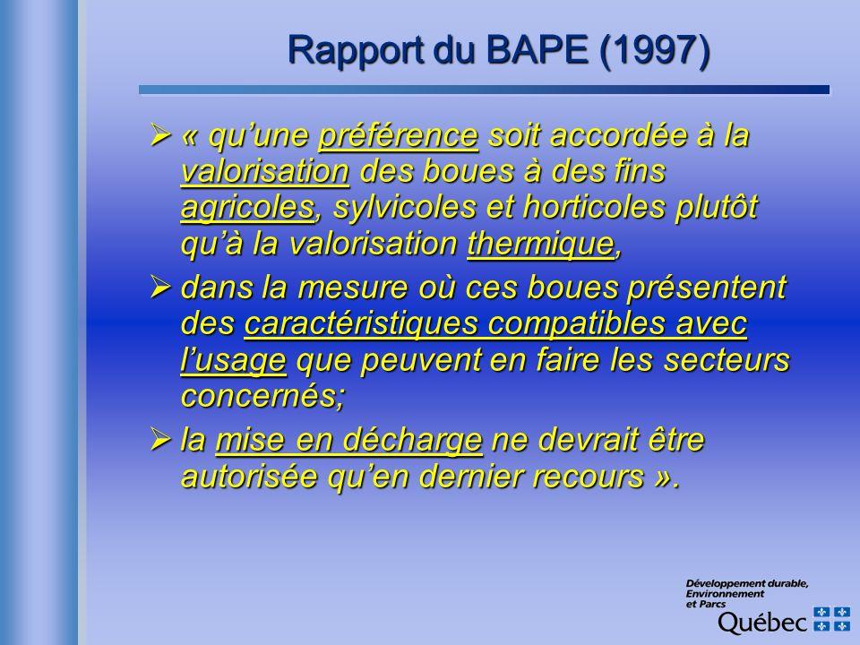 Rapport du BAPE (1997) « quune préférence soit accordée à la valorisation des boues à des fins agricoles, sylvicoles et horticoles plutôt quà la valor