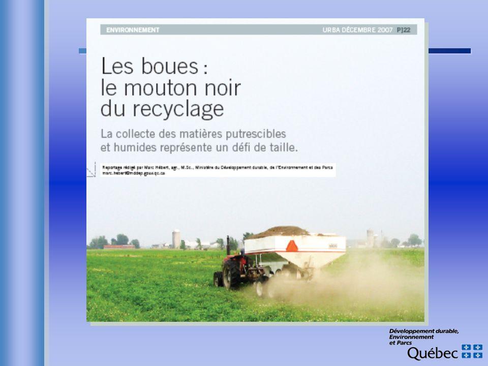 Épandage Avantages Pas de production de CH 4 (sol en aérobie) Pas de production de CH 4 (sol en aérobie) Séquestration de C Séquestration de C –Sol: Long terme pour sols dégradés –Plantes: Long terme en sylviculture Moins dengrais chimique (CO 2 et N 2 O) Moins dengrais chimique (CO 2 et N 2 O) Cuivre: réduction des émissions de N 2 O du sol à long terme .