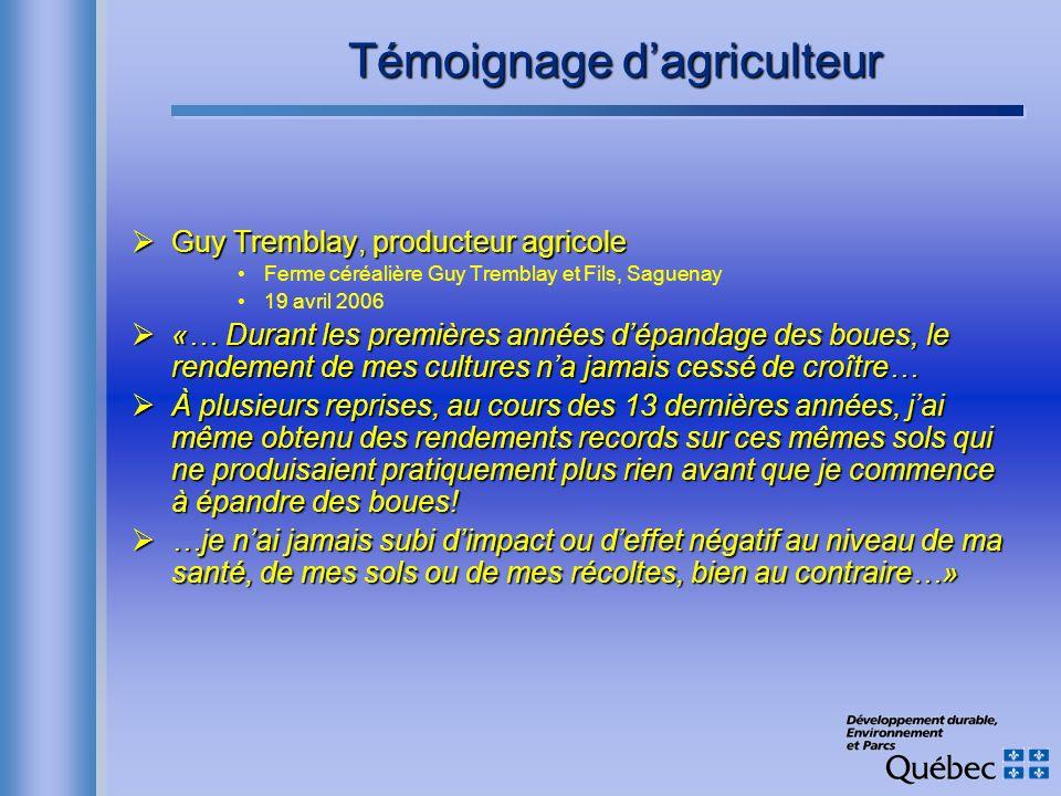 Témoignage dagriculteur Guy Tremblay, producteur agricole Guy Tremblay, producteur agricole Ferme céréalière Guy Tremblay et Fils, Saguenay 19 avril 2