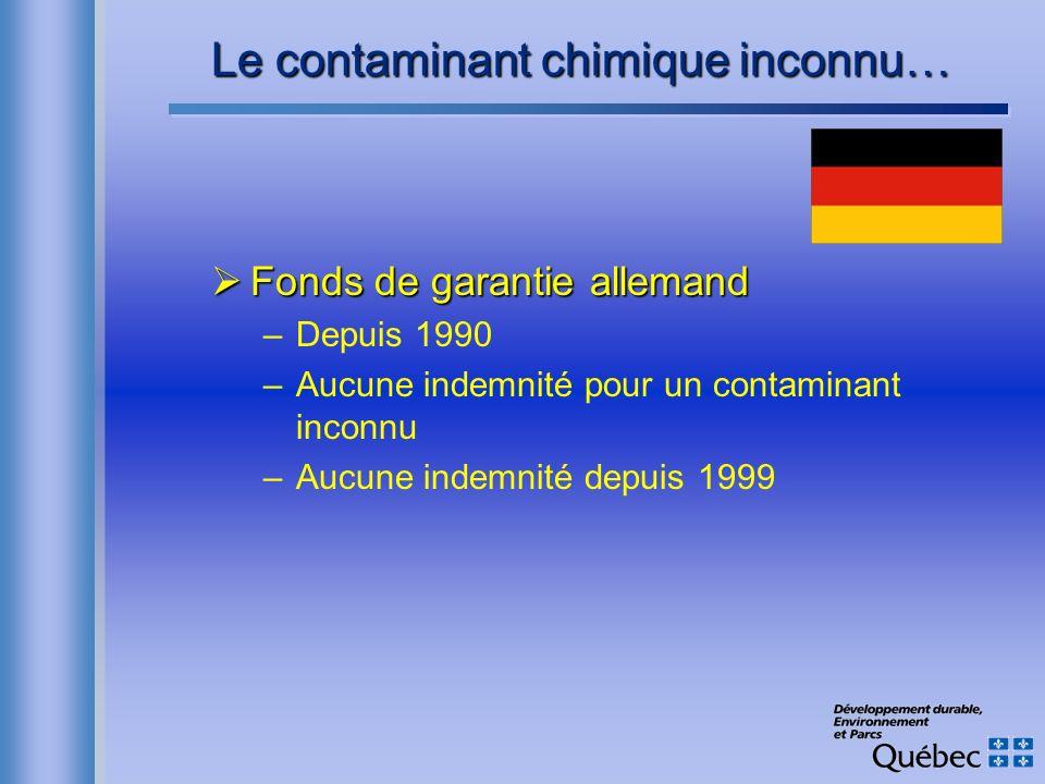 Le contaminant chimique inconnu… Fonds de garantie allemand Fonds de garantie allemand –Depuis 1990 –Aucune indemnité pour un contaminant inconnu –Auc