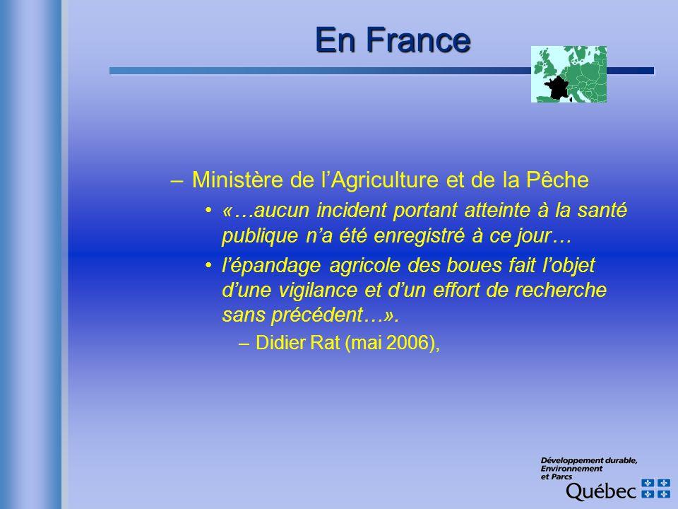 En France –Ministère de lAgriculture et de la Pêche «…aucun incident portant atteinte à la santé publique na été enregistré à ce jour… lépandage agric