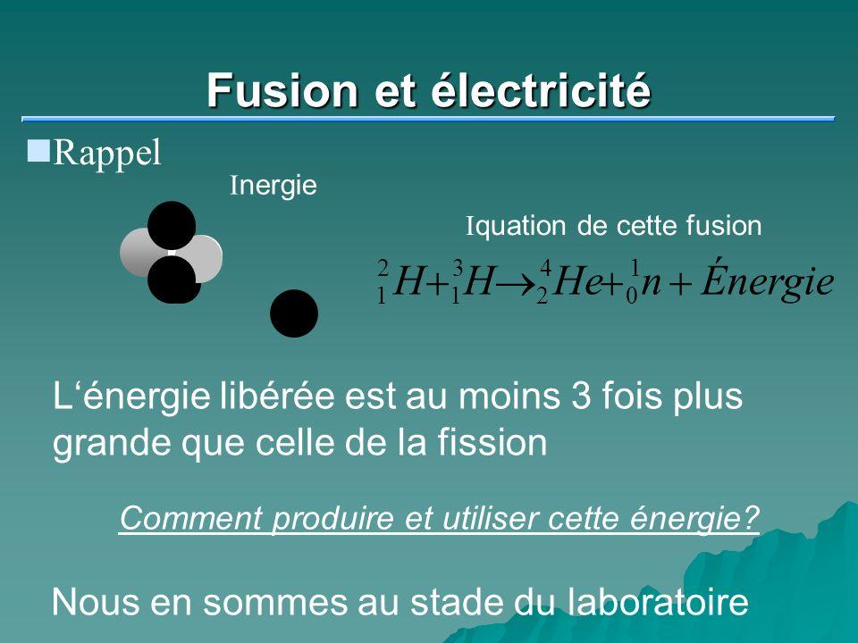Fusion et électricité Rappel Inergie 1 2 1 3 2 4 0 1 HHHenÉnergie Iquation de cette fusion Lénergie libérée est au moins 3 fois plus grande que celle de la fission Comment produire et utiliser cette énergie.