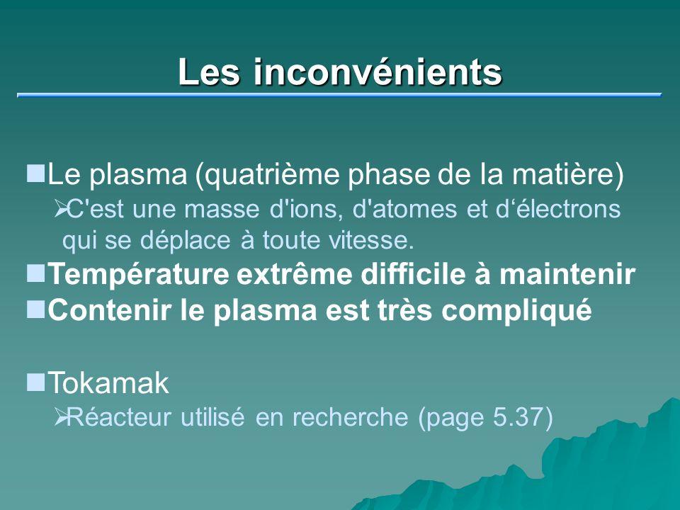 Les inconvénients Le plasma (quatrième phase de la matière) C'est une masse d'ions, d'atomes et délectrons qui se déplace à toute vitesse. Température
