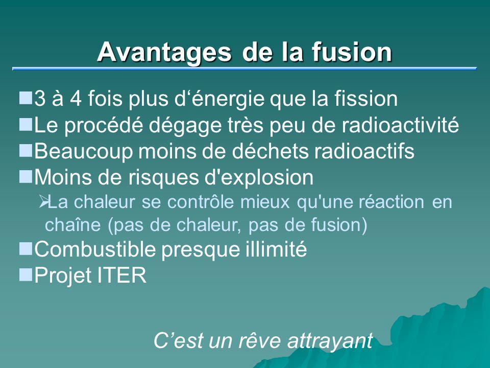 Avantages de la fusion 3 à 4 fois plus dénergie que la fission Le procédé dégage très peu de radioactivité Beaucoup moins de déchets radioactifs Moins de risques d explosion La chaleur se contrôle mieux qu une réaction en chaîne (pas de chaleur, pas de fusion) Combustible presque illimité Projet ITER Cest un rêve attrayant