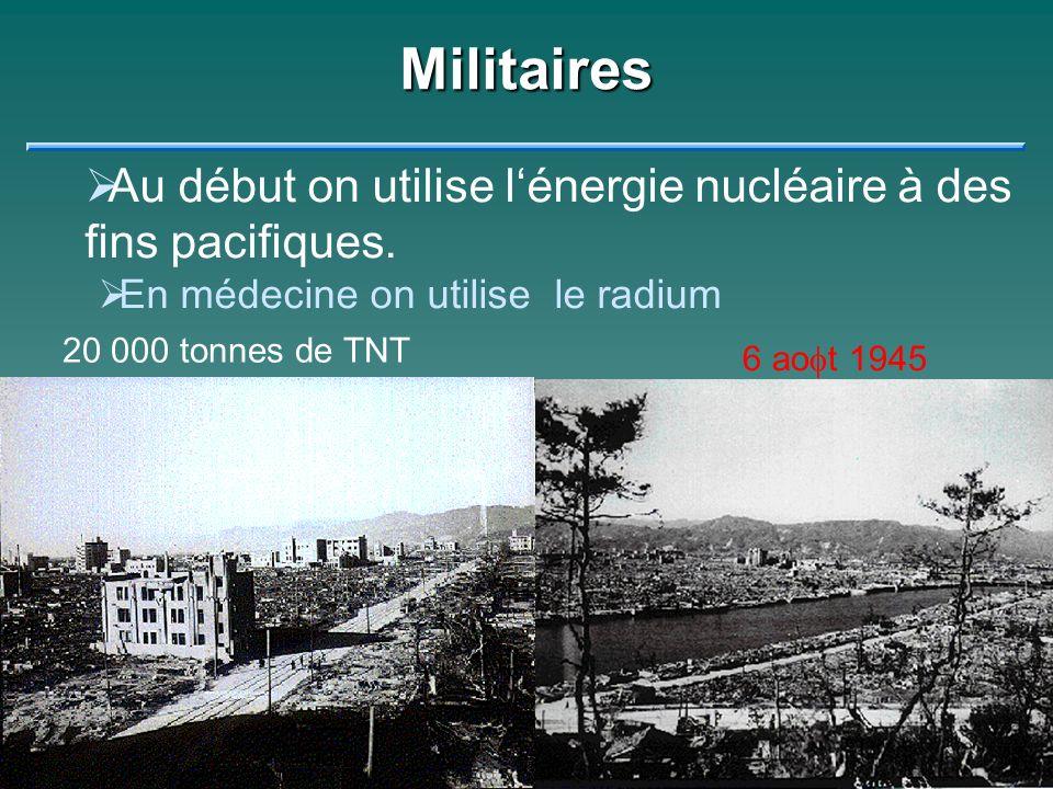 Militaires Au début on utilise lénergie nucléaire à des fins pacifiques. En médecine on utilise le radium Mais rapidement on met lénergie de latome à