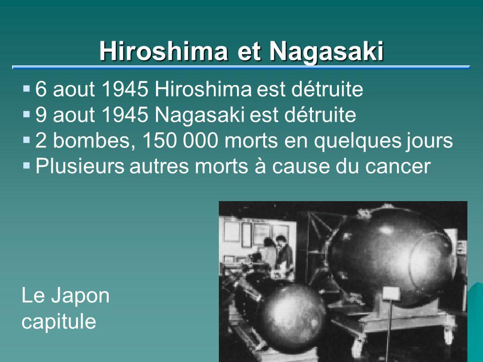 Hiroshima et Nagasaki 6 aout 1945 Hiroshima est détruite 9 aout 1945 Nagasaki est détruite 2 bombes, 150 000 morts en quelques jours Plusieurs autres morts à cause du cancer Le Japon capitule