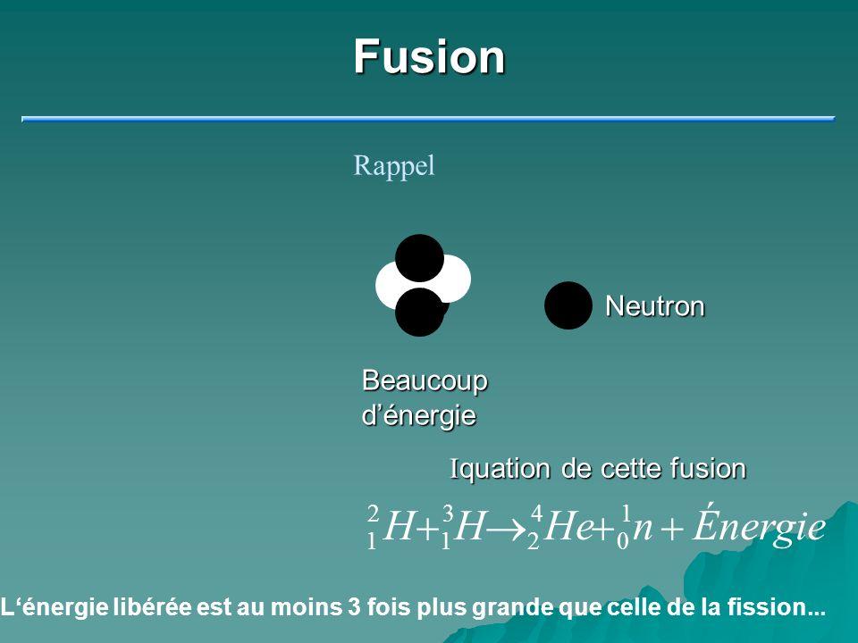 Fusion Rappel Lénergie libérée est au moins 3 fois plus grande que celle de la fission... Beaucoup dénergie Neutron 1 2 1 3 2 4 0 1 HHHenÉnergie Iquat