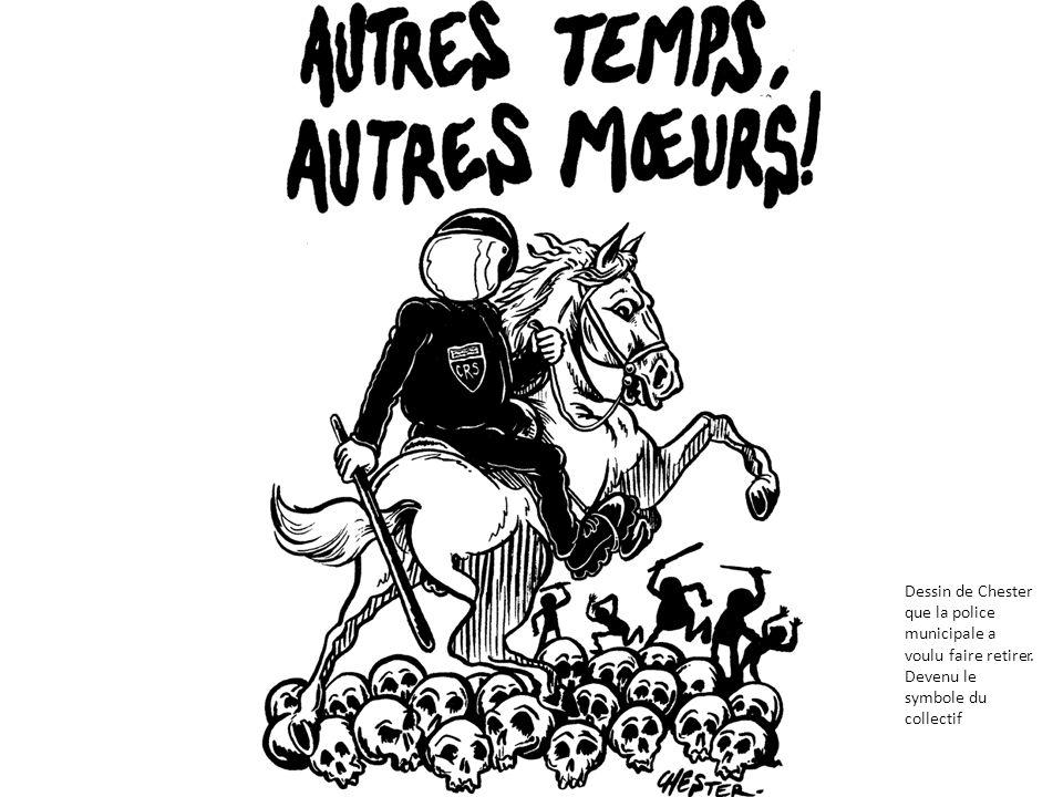 « Les policiers sont placés par dizaines à toutes les sorties de cette place publique, une des plus grande de France, ils sont équipés darmures des pieds à la tête, casque, bouclier, matraque, pistolet.