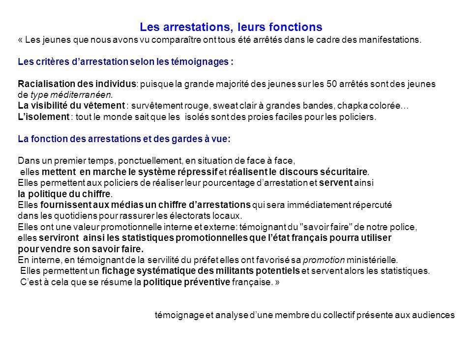 Les arrestations, leurs fonctions « Les jeunes que nous avons vu comparaître ont tous été arrêtés dans le cadre des manifestations. Les critères darre