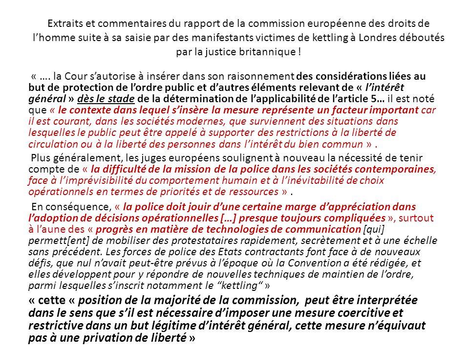 Extraits et commentaires du rapport de la commission européenne des droits de lhomme suite à sa saisie par des manifestants victimes de kettling à Lon