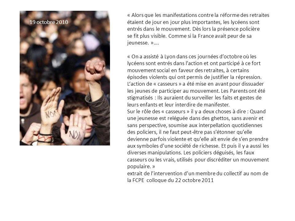 « Alors que les manifestations contre la réforme des retraites étaient de jour en jour plus importantes, les lycéens sont entrés dans le mouvement.