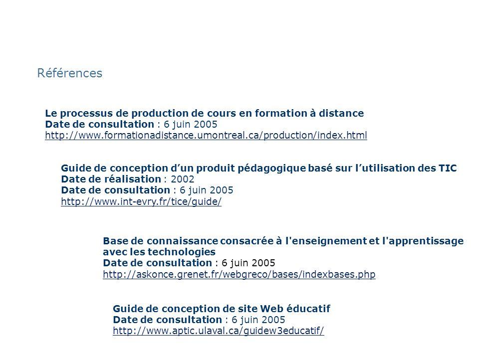 Références Le processus de production de cours en formation à distance Date de consultation : 6 juin 2005 http://www.formationadistance.umontreal.ca/p