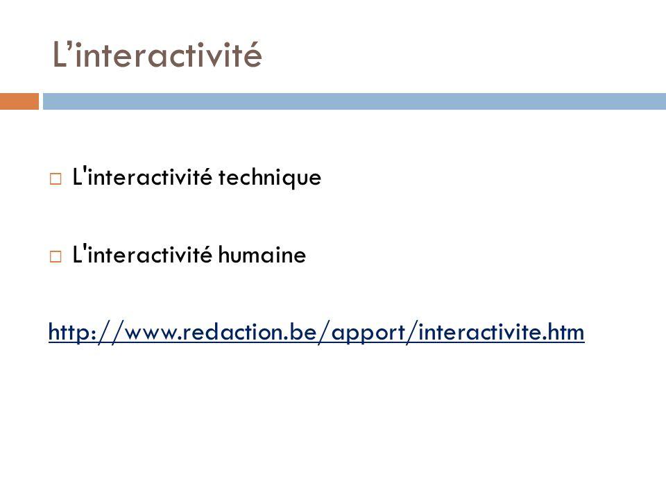 Linteractivité L'interactivité technique L'interactivité humaine http://www.redaction.be/apport/interactivite.htm