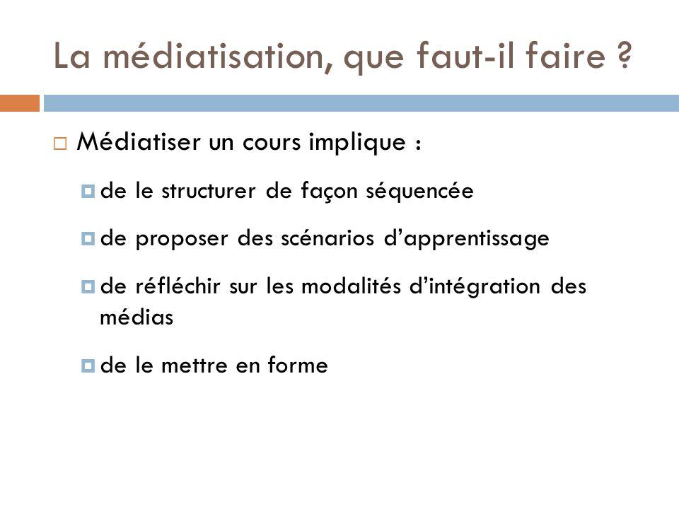 La médiatisation, que faut-il faire ? Médiatiser un cours implique : de le structurer de façon séquencée de proposer des scénarios dapprentissage de r