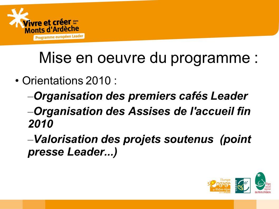 Mise en oeuvre du programme : Orientations 2010 : – Organisation des premiers cafés Leader – Organisation des Assises de l'accueil fin 2010 – Valorisa