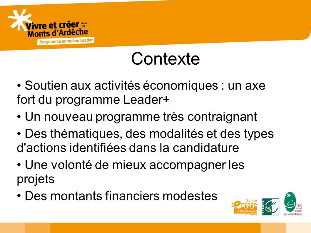 Contexte Soutien aux activités économiques : un axe fort du programme Leader+ Un nouveau programme très contraignant Des thématiques, des modalités et