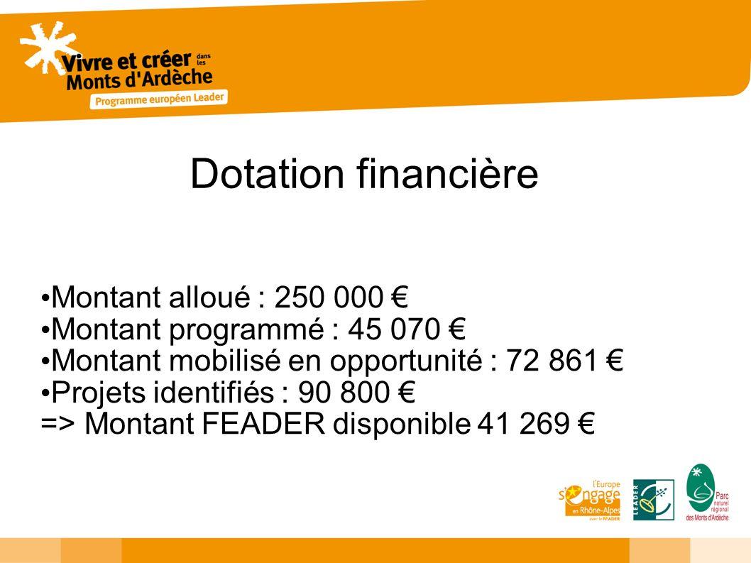 Dotation financière Montant alloué : 250 000 Montant programmé : 45 070 Montant mobilisé en opportunité : 72 861 Projets identifiés : 90 800 => Montant FEADER disponible 41 269
