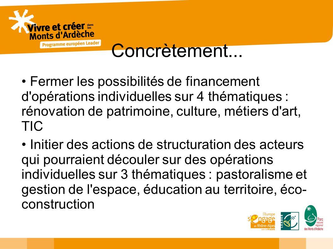 Concrètement... Fermer les possibilités de financement d'opérations individuelles sur 4 thématiques : rénovation de patrimoine, culture, métiers d'art