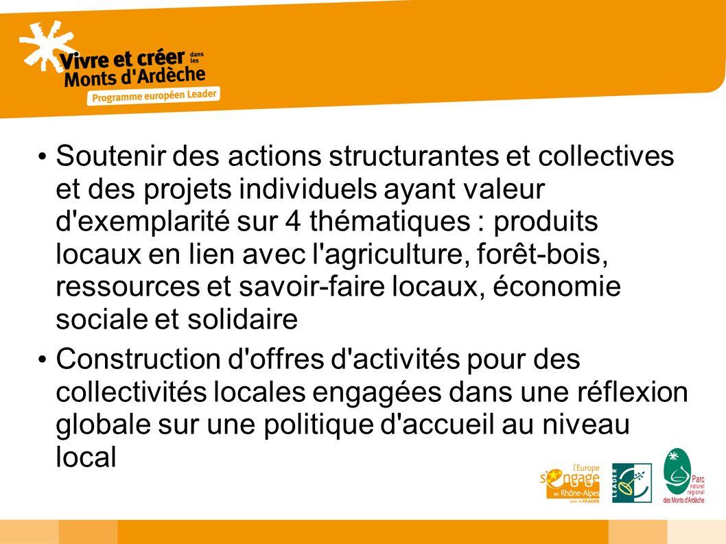 Soutenir des actions structurantes et collectives et des projets individuels ayant valeur d'exemplarité sur 4 thématiques : produits locaux en lien av