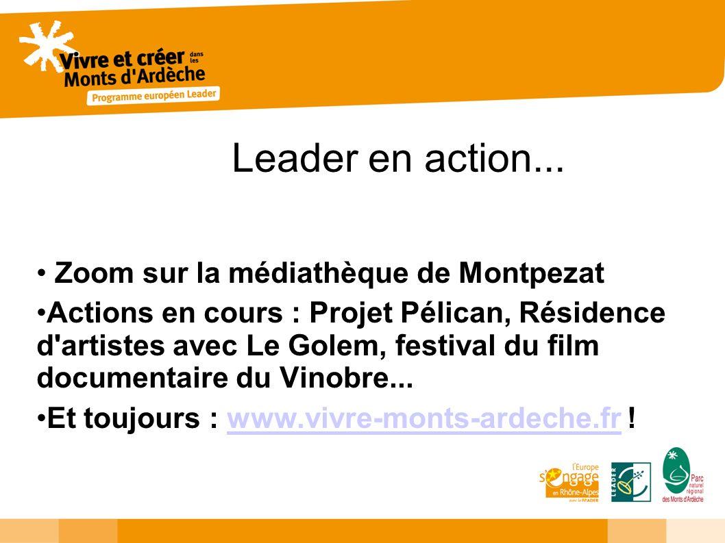 Leader en action... Zoom sur la médiathèque de Montpezat Actions en cours : Projet Pélican, Résidence d'artistes avec Le Golem, festival du film docum