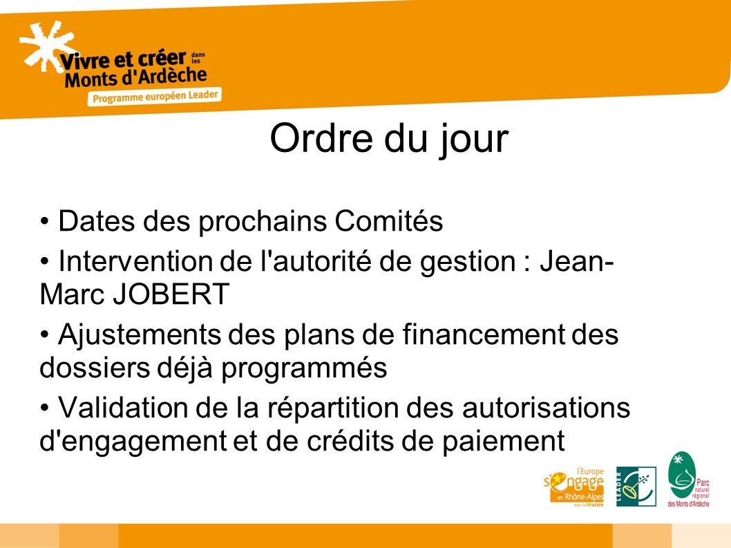 Ordre du jour Dates des prochains Comités Intervention de l'autorité de gestion : Jean- Marc JOBERT Ajustements des plans de financement des dossiers