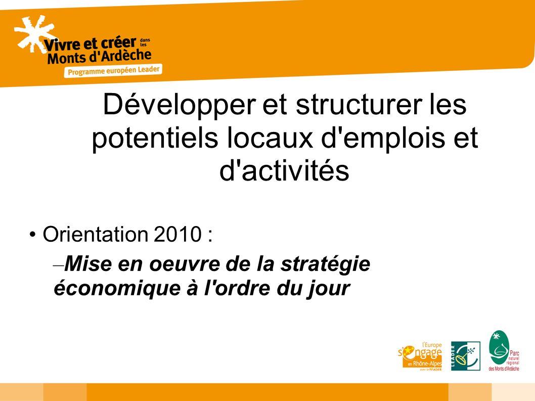 Développer et structurer les potentiels locaux d'emplois et d'activités Orientation 2010 : – Mise en oeuvre de la stratégie économique à l'ordre du jo