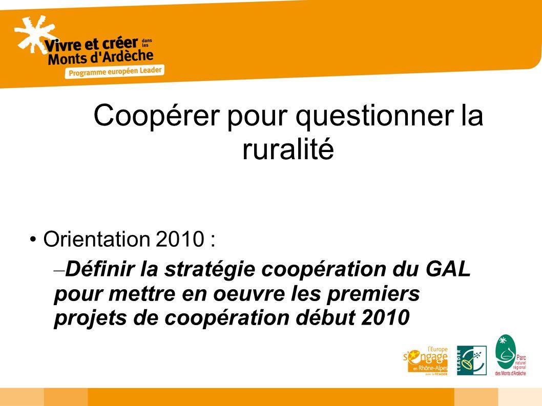 Coopérer pour questionner la ruralité Orientation 2010 : – Définir la stratégie coopération du GAL pour mettre en oeuvre les premiers projets de coopé