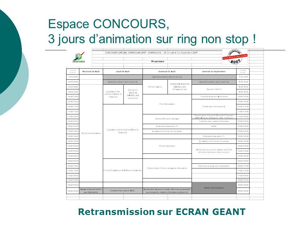Espace CONCOURS, 3 jours danimation sur ring non stop ! Retransmission sur ECRAN GEANT