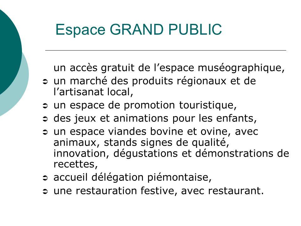 un accès gratuit de lespace muséographique, un marché des produits régionaux et de lartisanat local, un espace de promotion touristique, des jeux et a
