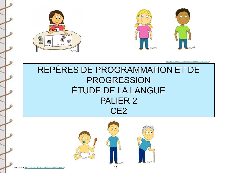 11 REPÈRES DE PROGRAMMATION ET DE PROGRESSION ÉTUDE DE LA LANGUE PALIER 2 CE2 source dessins : http://www.mysticlolly-leblog.frsource dessins : http:/