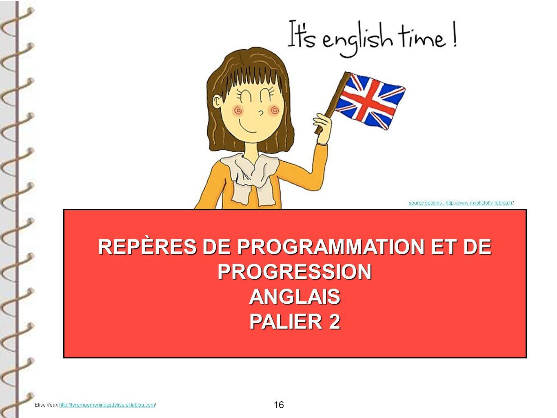 16 REPÈRES DE PROGRAMMATION ET DE PROGRESSION ANGLAIS PALIER 2 source dessins : http://www.mysticlolly-leblog.frsource dessins : http://www.mysticloll