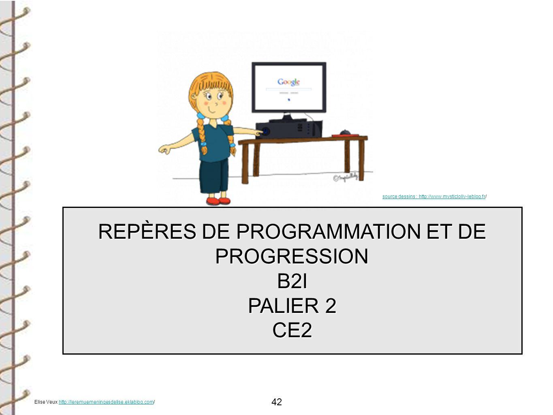 42 REPÈRES DE PROGRAMMATION ET DE PROGRESSION B2I PALIER 2 CE2 source dessins : http://www.mysticlolly-leblog.frsource dessins : http://www.mysticloll