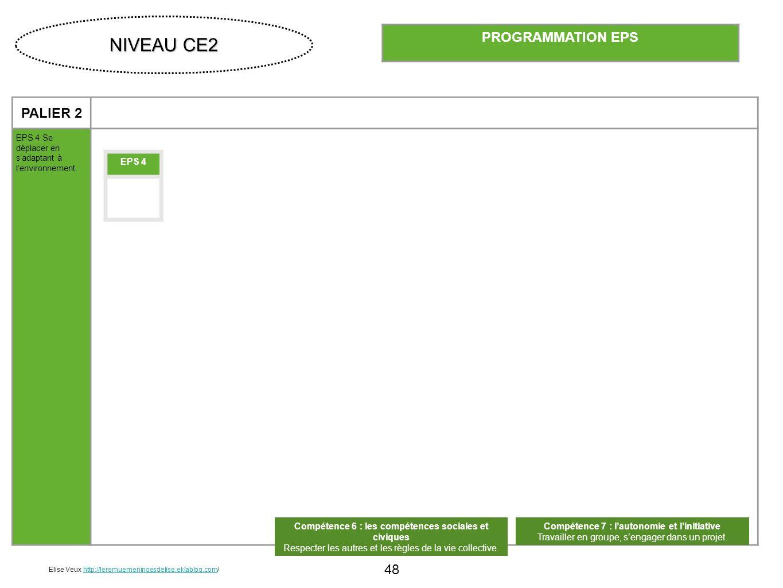 48 PALIER 2 EPS 4 Se déplacer en sadaptant à lenvironnement. PROGRAMMATION EPS EPS 4 Compétence 6 : les compétences sociales et civiques Respecter les