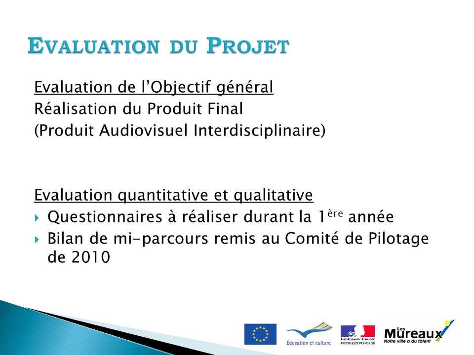 Evaluation de lObjectif général Réalisation du Produit Final (Produit Audiovisuel Interdisciplinaire) Evaluation quantitative et qualitative Questionn