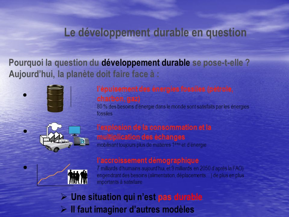 Pourquoi la question du développement durable se pose-t-elle .