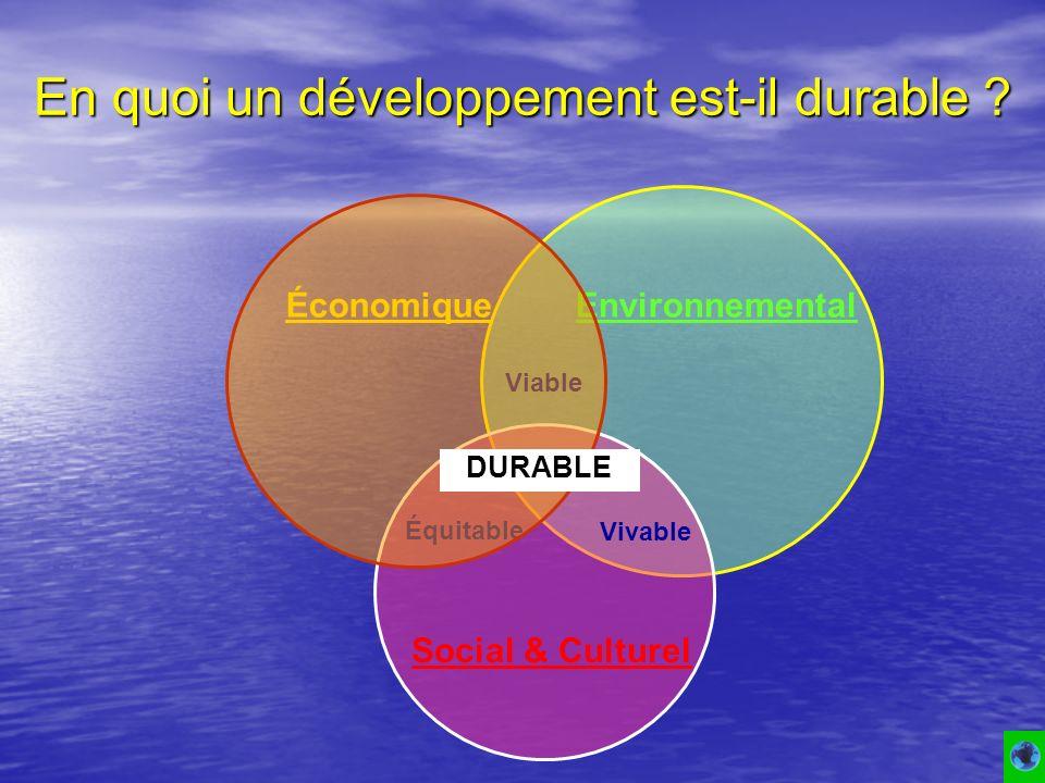 En quoi un développement est-il durable ? Viable Équitable Vivable ÉconomiqueEnvironnemental DURABLE Social & Culturel DURABLE