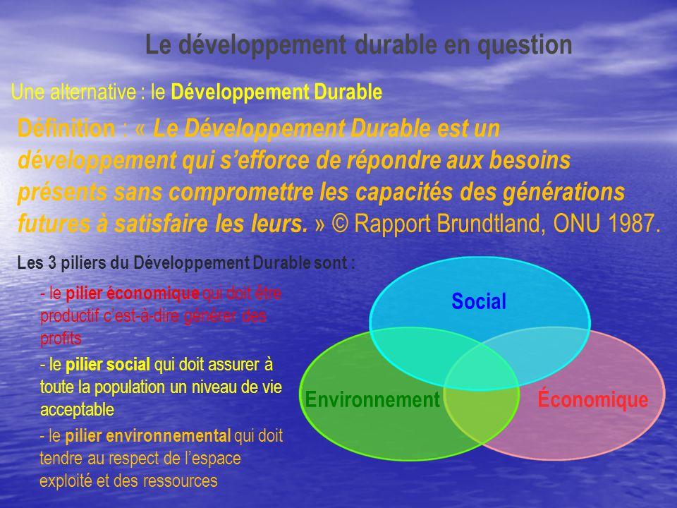 Une alternative : le Développement Durable Définition : « Le Développement Durable est un développement qui sefforce de répondre aux besoins présents
